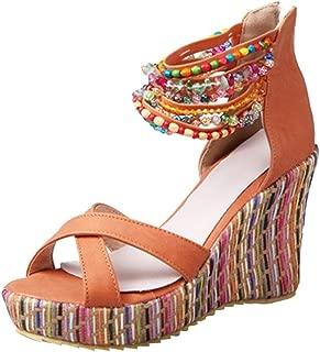 Women Bohemian Vintage Flat Wedges Back Zip High Heeled Shoes Handmade Beaded Sandals