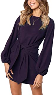 Womens Casual Round Neck Puff Sleeve Tie Knot Front Solid Pencil Dress