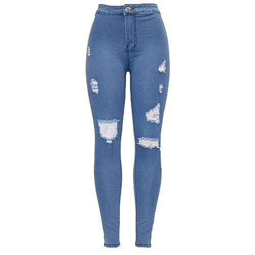 903dbd8ebc Barfly Fashion New Ladies Womens High Waisted White Blue Black Stretchy  Knee Ripped Cut Skinny Slim