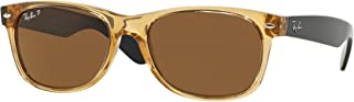 Ray-Ban RB2132 Large New Wayfarer Polarized Sunglasses Honey w/Crystal Brown (945/57) 2132 94557 55mm Authentic