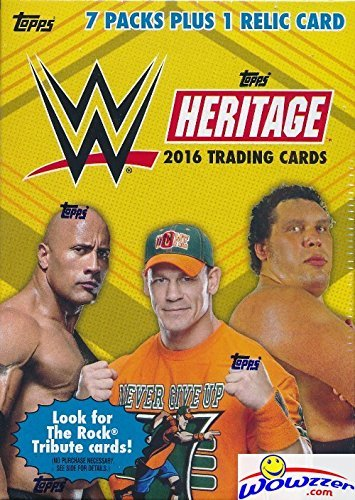 2016 Topps WWE Heritage Wrestling EXCLUSIVE Factory Sealed Retail Box with 7 Packs, RELIC Card & THE ROCK Tribute Card! Look for Cards, Autographs & Relics of Jon Cena, Sting, Triple H & Many More!