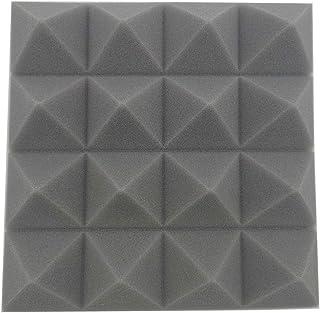 12 piezas de espuma acústica de pirámide de espuma para el hogar, estudio, estudio, grabación de sonido, azulejos, 25 x 25 x 5 cm, gris