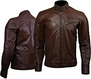 KAAZEE Mens Quilted Zipper Pocket Bomber Brown Leather Jacket