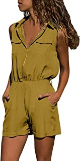 Huarll Womens Summer Loose-Fitting V-Neck Sleeveless Jumpsuit with Pockets Casual Harem Wide Leg Long Pants Jumpsuit