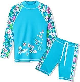 TFJH E Girls Swimsuit UPF 50+ UV Protaction Two Piece Long Sleeve Swimwear Rash Guard Sets Kids 3-12 Years