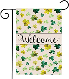 Welcome Spring St. Patrick's Day Garden Flag, Green Shamrock 12 x 18 Inch Double Sided, Irish Yard Flag Outdoor Decor