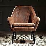 Versanora Divano Stylish Arm Accent Chair | Aged Fabric Brown