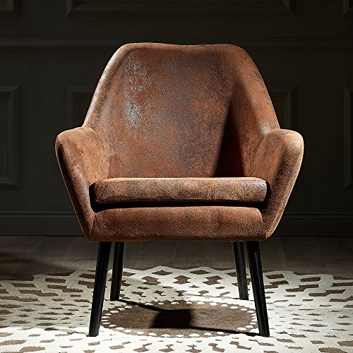 Versanora Divano Stylish Arm Accent Chair | Aged Fabric Brown