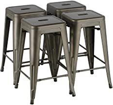 Yaheetech 24 Inches Metal Bar Stools Kitchen Counter Height Bar Stools Indoor/Outdoor Stool Patio Furniture Modern Stackable Barstools Dining Chair, Gun Metal