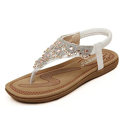 cd8dd771 Falaiduo 2017 Fashion Women Boho Rhinestone Flat Beach Shoes Summer Sandals