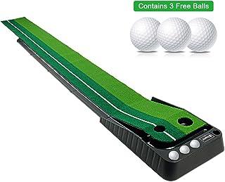 Asgens Golf Putting Green, Indoor/Outdoor Golf Auto Return Putting Mat, Dual-Track..