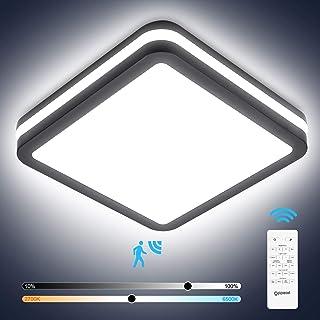 Lámpara de techo LED con detector de movimiento con mando a distancia, 18 W, 1800 lm, cuadrado, regulable, con detector de movimiento, IP54 para escaleras, armarios, pasillos, balcones
