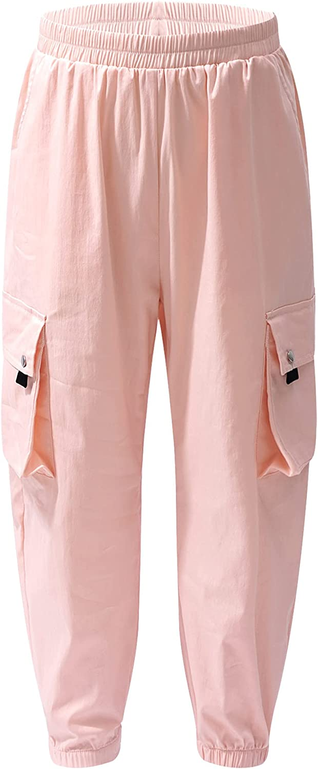 easyforever Girls Cargo Pants Street Hip Hop Dance Athletic Trousers Baggy Joggers Casual Sweatpants with Pockets