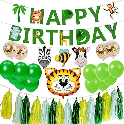Jungle Theme Birthday Party Decorations 1st 2nd Birthday Decorations Green Safari Happy Birthday Party Decorations