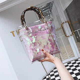 Handbag Transparent Women Beach Bags Chain Straw Bag Lady Shoulder Cross Body Bag Ladies Handbags Bolso Mujer Fashion (Color : Pink)