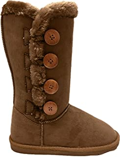 Women's Fur Mid-Calf 4 Buttons Faux Soft Snow Winter Flat Boot Shoes New 02