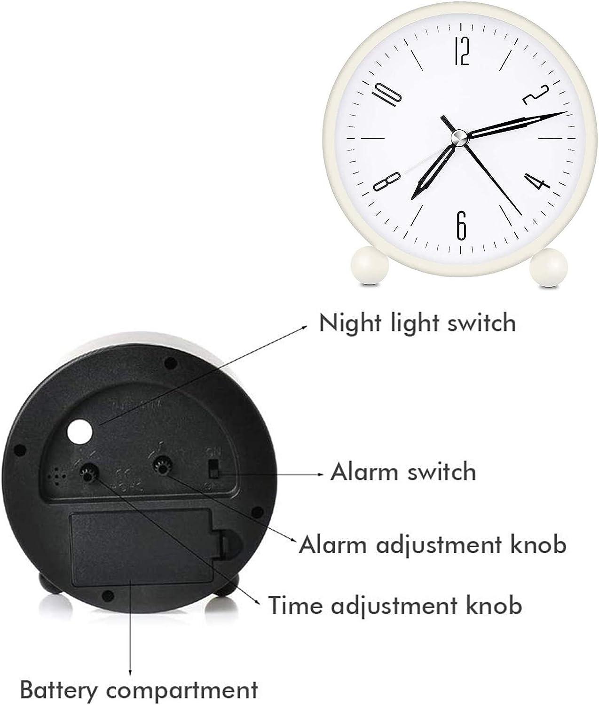 Geneic R/éveil analogique analogique de chevet sans tac silencieux r/éveil rond en m/étal mini r/éveil /à quartz jaune petit r/éveil de voyage l/éger
