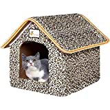 VARWANEO Pet House, Outdoor Waterproof Cat House Dog Kennel Kitty Shelter Foldable Pet Protection Secure Placement,15×18×9 inch (Leopard Print)