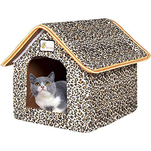 VARWANEO Pet House, Outdoor Waterproof Cat House Dog Kennel Kitty Shelter Foldable Pet Protection...