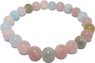 Beryl Bracelet 7mm Boutique Blue Green Aquamarine Pink Morganite Yellow Heliodor Round Stretch Gemstones B01