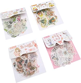 Cute Washi Sticker Set (4 Pack, 160 Pieces) Kawaii Cat Cartoon Girl Decorative Stickers DIY Label for Scrapbooking Planner Album Journal Letter Card Gift Box Cup