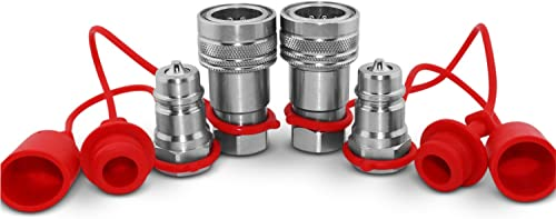 "1/2"" Ag ISO 5675 Hydraulic Quick Connect Tractor Couplers, Poppet Pioneer Style w/Dust Caps, 2 Sets"