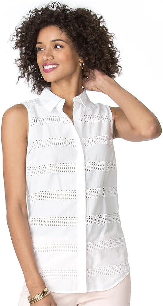 Chaps Women's Eyelet Button-Down Shirt, White