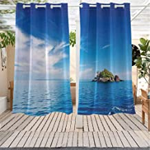 Xlcsomf Island Outdoor Sunshade Small Island in Trat Archipelago Front Porch W63 x L45 inch Thailand Reef Rock Diving Trip Sunny Day Landscape