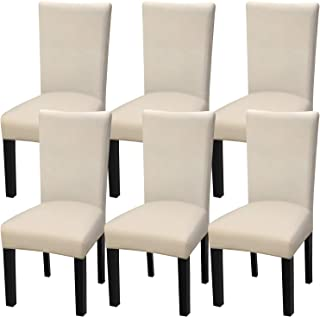 Fuloon 6 Pack Super Fit Stretch Removable Washable Short Dining Chair Protector Cover..
