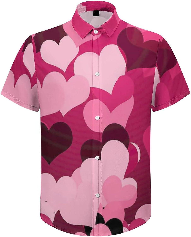 Men's Regular-Fit Short-Sleeve Printed Party Holiday Shirt Pink Hearts