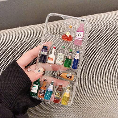 Custodia per telefono trasparente con bottiglia di vino 3D per iPhone SE 2020 11 Pro XS Max X XR 6 6S 7 8 Plus Cover divertente in TPU con glitter per bottiglia di birra, CSLTJP, per iPhone 11Pro 5.8