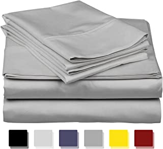 800 Thread Count 100% Egyptain Cotton Sheet Queen Silver Sheets Set, 4-Piece Long-Staple Combed Cotton Best Sheets for Bed, Breathable, Soft & Silky Sateen Weave Fits Mattress Upto 18'' Deep Pocket