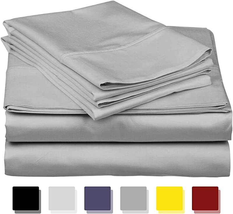 True Luxury 1000 Thread Count 100 Egyptian Cotton Bed Sheets 4 Pc King Silver Sheet Set Single Ply Long Staple Yarns Sateen Weave Fits Mattress Upto 18 Deep Pocket