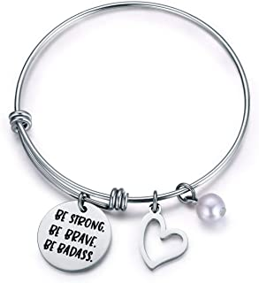 Jvvsci BE Strong BE Brave BE Badass Bracelet Best Friends Sisters BFF Motivational Inspirational Gift Uplifting Jewelry For Her