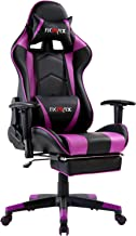 Ficmax Massage Gaming Chair Ergonomic Computer Gaming Chair with Footrest Reclining Computer Chair High Back Gaming Desk Chair Racing Style Home Office Chair With Head and Lumbar Support(Black/Purple)