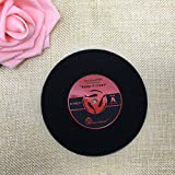 Record Placemat, 4pcs Creative Retro Vinyl Record CD Coaster Mats, PVC Heat Resistant Anti-slip Coffee Drink Cup Place Pads Decor Red
