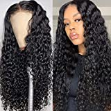 13x4 22 Inch Deep Wave Lace Front Wigs Human Hair Pre Plucked 180% Density Vshow hair Brazilian Curly Wave Human Hair Wigs for Black Women(22 Inch)