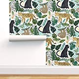 Spoonflower Peel and Stick Removable Wallpaper, Jungle Animal Tangerinetane Panther Sloth Forest Leaves Print, Self-Adhesive Wallpaper 24in x 108in Roll