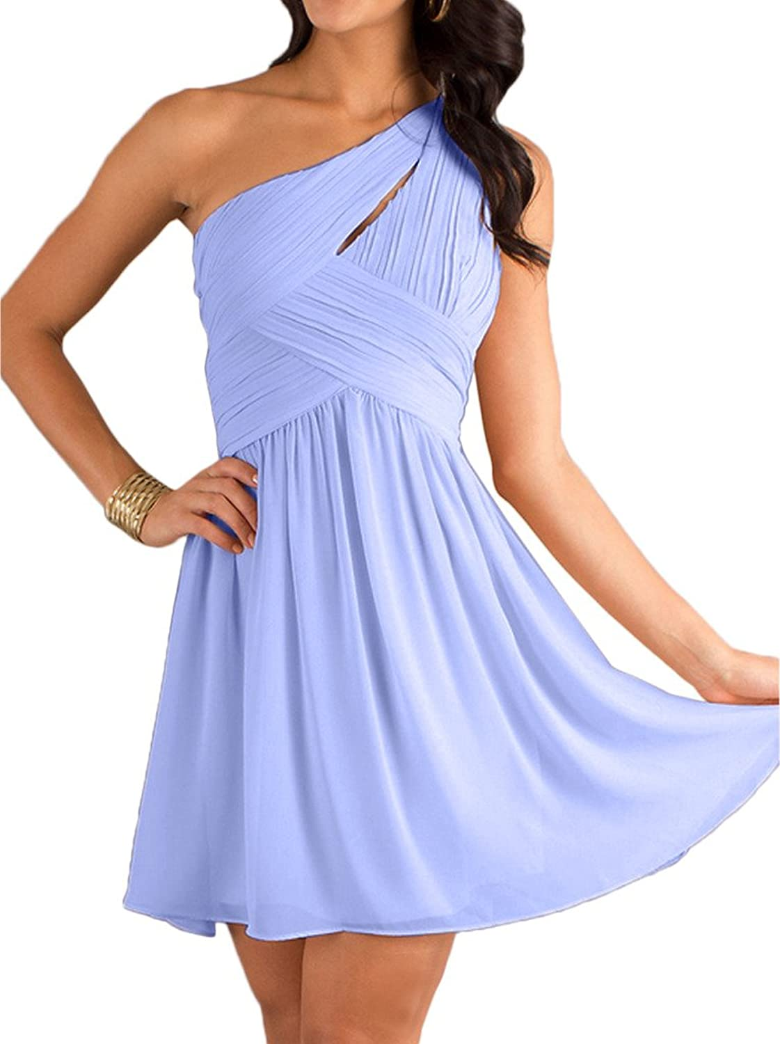 MILANO BRIDE Concise OneShoulder Pleat Homecoming dress Short Prom Party Dress