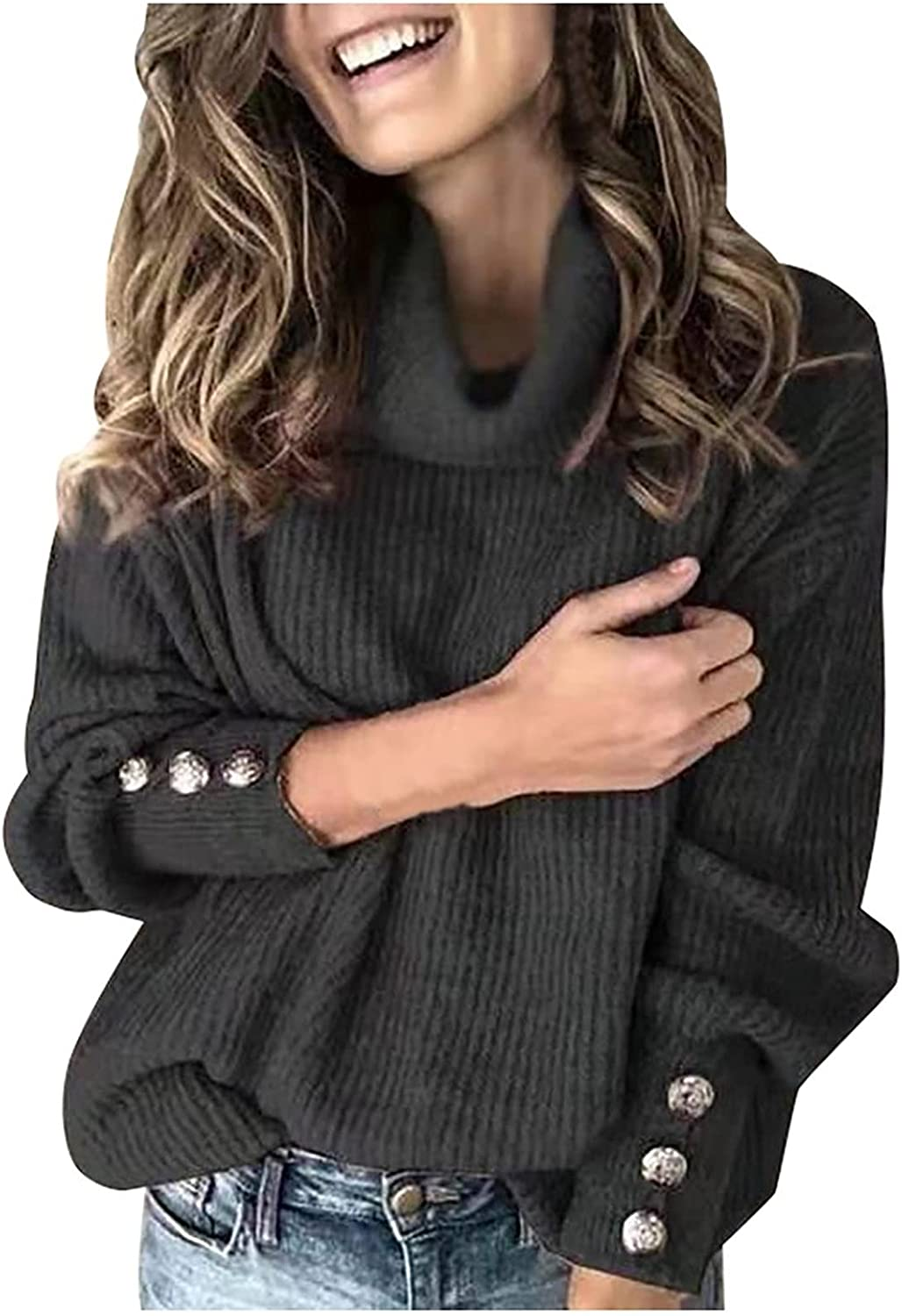 Women's Cowl Neck Button Long Sleeve Knitting Pullover Sweater Winter Warm Wrap Casual Oversize Solid Tops
