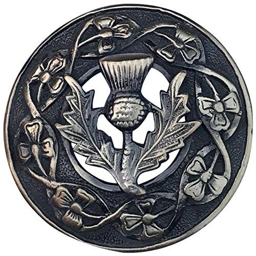 Herren-Brosche Schottische Distel, Antik-/Schwarz-Finish, 7 cm Durchmesser, antik, 7,62 cm