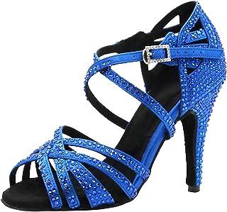 JUODVMP Chaussures de Danse Latine pour Femmes Sangle en T Womens Glitter Shoes Modle YCL383