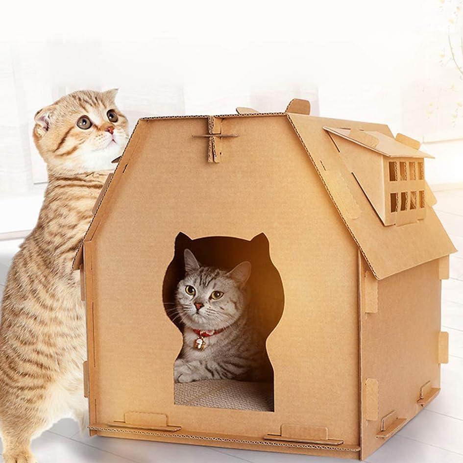 羊の閃光本当に段ボールの猫の家、屋内DIYの手作りの耐久性のある子猫の段ボール紙のメモボードのおもちゃの家、ハニカムサンドイッチ構造の設計の安定性は変形しにくい、ペット用品