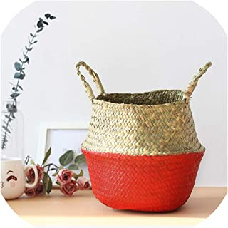 Seagrass Foldable Wickerwork Basket Rattan Hanging Flower Pot Planter Woven Dirty Laundry Hamper Storage Home Decor,Gules,XS (19cmX19cm)