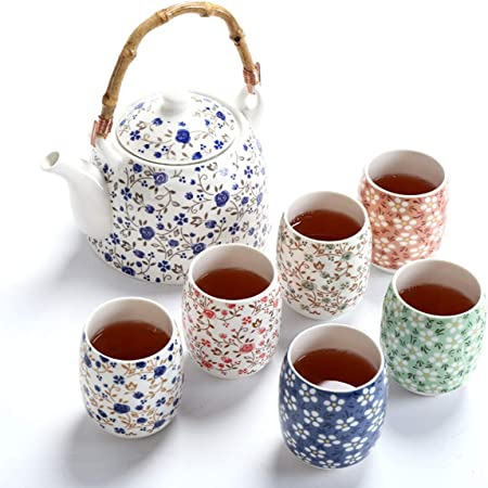 fanquare Service à Thé en Porcelaine Florale, Service à Thé Chinois Kung Fu Fait Main, 1 Théière, Set de 6 Tasses à Thé