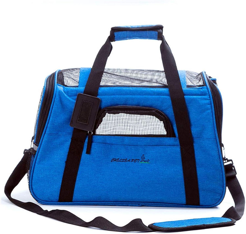 Pet Shoulder Bag Cat Bag Breathable Dog Bag Out Travel Portable Rabbit Bag Pet Bag (color   Royal bluee)