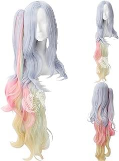 Cfalaicos No Game No Life Rainbow Color Long Wave Cosplay Hair Wig
