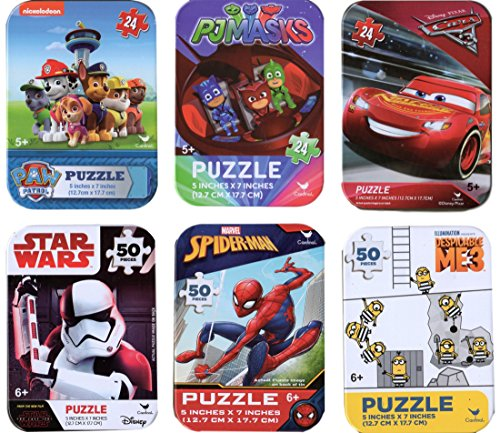 Cardinal 6 Collectible Boy Puzzle Tins Marvel Spiderman 24 50 Pieces Ages 5+ 6+ Cars Lightning McQueen, Paw Patrol, PJ Masks, Minions, Star Wars Storm Trooper, Spiderman Bundle Gift Set