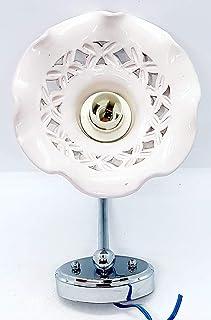 Applique Traforato Bianco Ceramica + Braccetto in Acciaio e Parti elettriche Le Ceramiche del Castello Pezzo Unico Handmad...