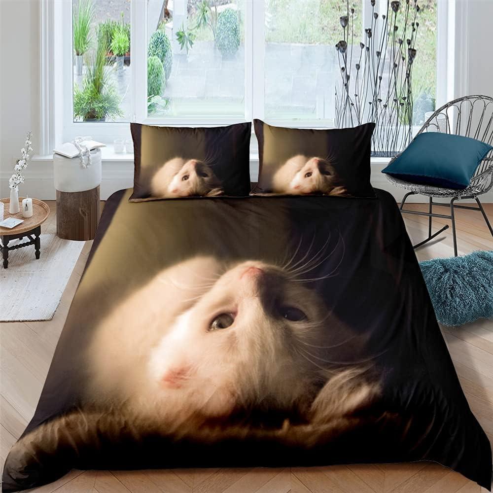 2/3 Piece Cartoon 3D Bedding Set, Children's Duvet Cover with Pillowcase, Kitten, Quilt, Duvet Cover, Home Textiles, Extra Large Bedroom Decoration 220x240cm 3